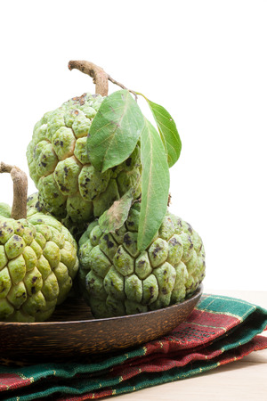 sweetsop: Sugar Apple (custard apple, Annona, sweetsop) on wooden table Stock Photo