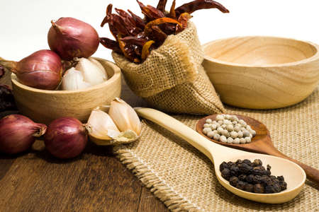 spicy food: Garlic, shallots, pepper, dried chilli are ingredient of spicy food Stock Photo