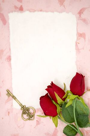 blank note: Blank paper with red rose and old key on pink texture paper place for your text Stock Photo