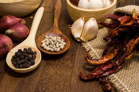 dried food: Garlic, shallots, pepper, dried chilli are ingredient of spicy food Stock Photo