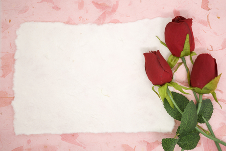 blank note: Blank paper with red rose on pink texture paper place for your text Stock Photo