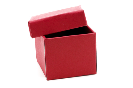 red gift box: Red Gift Box with open cap on Isolated white Background Stock Photo