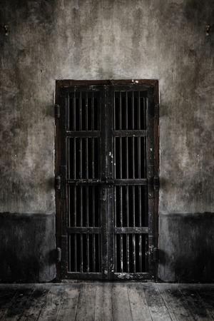 Rusted iron bars door on old wall, vintage style add vignette. Add light smoke looking soft focus. 스톡 콘텐츠