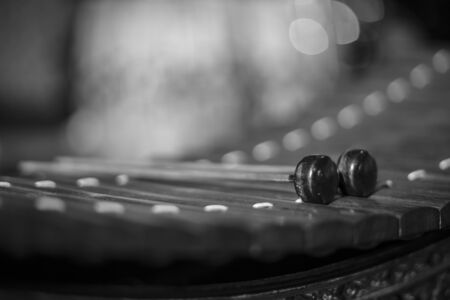resonator: Still life of Thai Xylophone, seclective focus, Black and white image Stock Photo