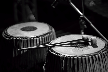 thai musical instrument: Still life of Thai Drum, musical instrument, selected focus, black and white image. Stock Photo