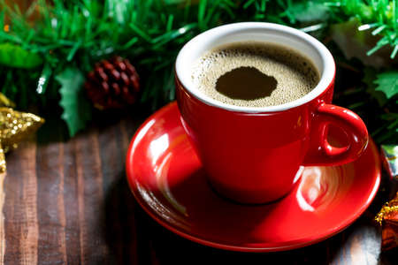 espresso cup: Cup of coffee with Christmas decorations