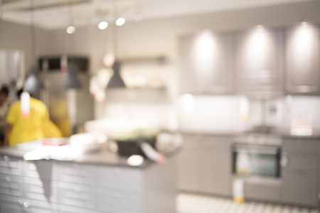 rustic kitchen: Blurred image of kitchen interior for background uses.