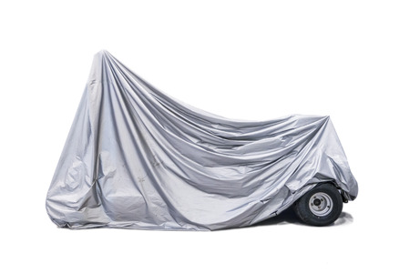 Car covered, isolated on white background. Banco de Imagens