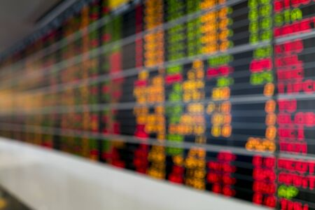 stock ticker board: Blurred image of Stock market board for background use.