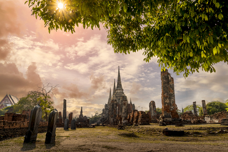 World Heritage Site at Wat Phra Si Sanphet. Ayutthaya, Thailand. The Ruin of temple. Sunset Time. Stock Photo
