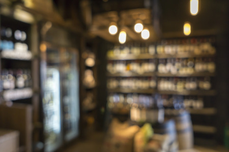 abstract liquor: Blurred image of liquor shop for background uses. Stock Photo