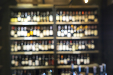 shop for: Blurred image of liquor shop for background uses. Stock Photo