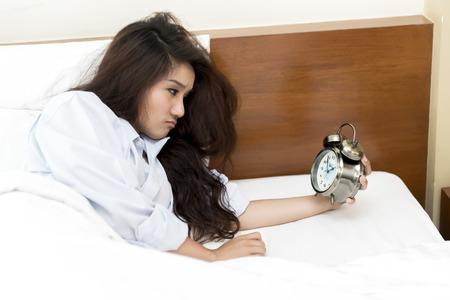 o'clock: Young Asian woman insomnia until 2 oclock.