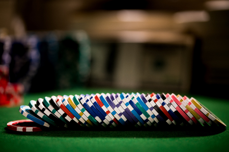 Row of poker chips, casino concept Stock Photo