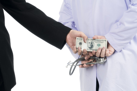 doctor money: Doctor received corruption money from businessman, Corruption concept, isolated on white background with clipping path Stock Photo