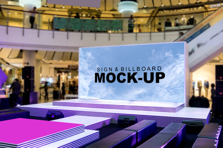 Blank billboards on stage located in shopping mall, useful for your advertising, with clipping path. Stock fotó