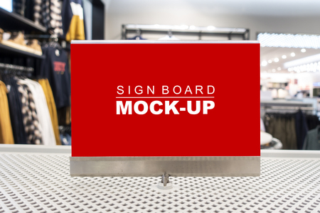 Mock up horizontal blank billboard   to show promotion or discount in accessory and clothing shop, red screen empty space for insert text or advertising in shopping mall