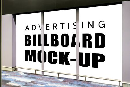 Mock up perspective three rectangular blank screen advertising billboard with at airport terminal,  empty space for insert advertisement or information promotion