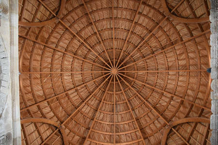 Wood pattern in the dome of the citadel roof, Amman, Jordan