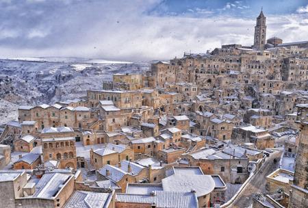 matera: Sassi of Matera with Snow Stock Photo