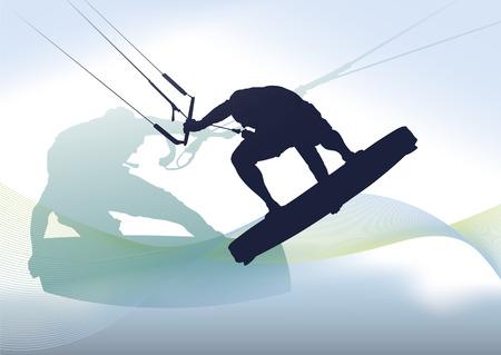 Kite Surfing Vektorové ilustrace
