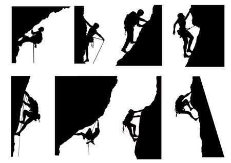 extreme: Climbing Silhouette Illustration