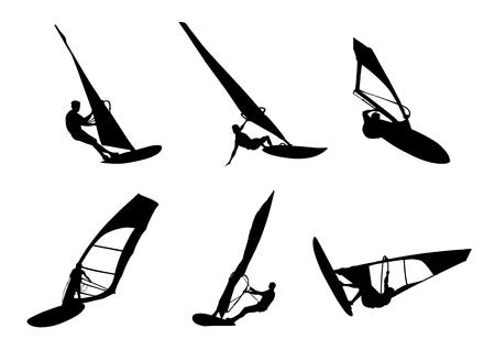 Windsurfing silhouette in white background. Stock Illustratie