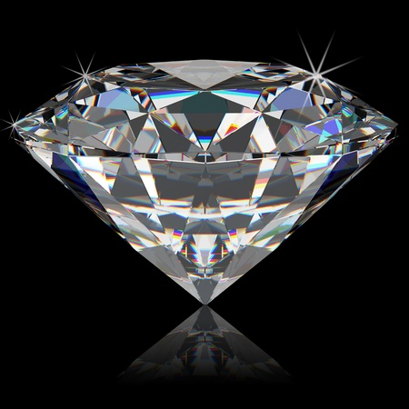 three objects: Perfect large diamond on a black background. Isolated