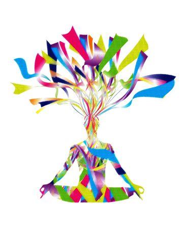 Konzept der junge Mann mit offenem Kopf konzentrieren und das Lernen auf voller Farbe Standard-Bild