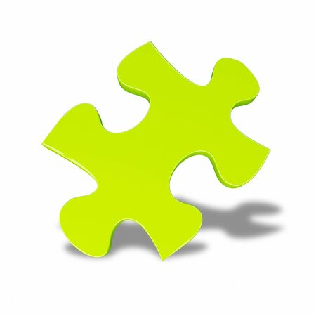 a green puzzle. isolate with white background Stock Photo