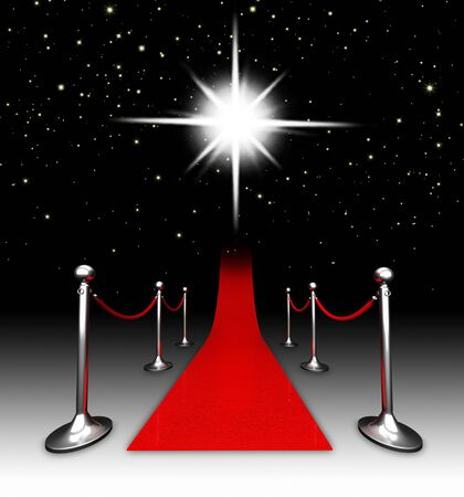 Red carpet at night. Stock Photo - 9612021