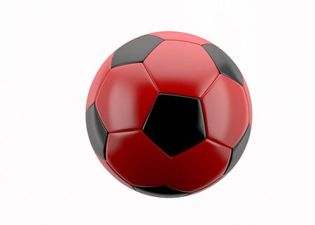 3d white and red leather soccer ball isolated on white background, for sport, recreation,football or soccer designs photo