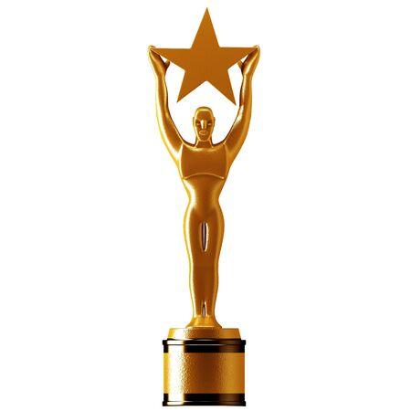 reconocimiento: Sosteniendo un premio estrella de oro