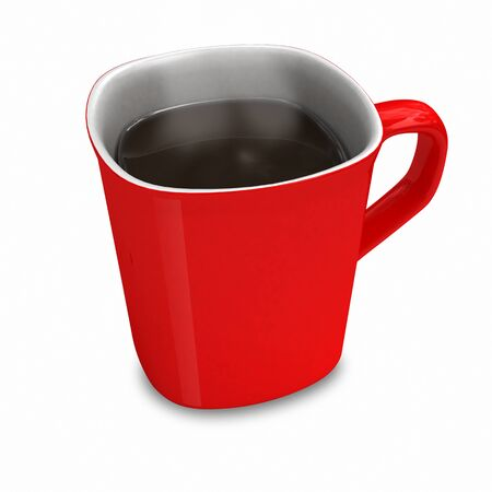 red mug from coffee on a white background