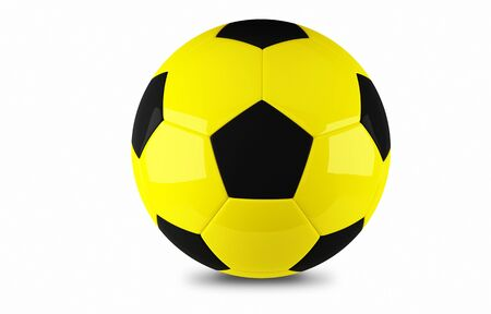 Yellow and black football ball detail on white background Stock Photo