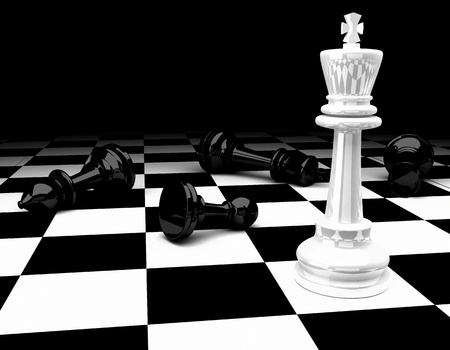 chess knight: Chess king standing - game over
