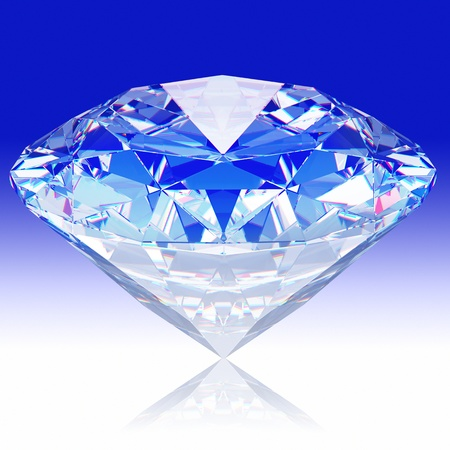 Diamond jewel on blue background Stock Photo - 9674235