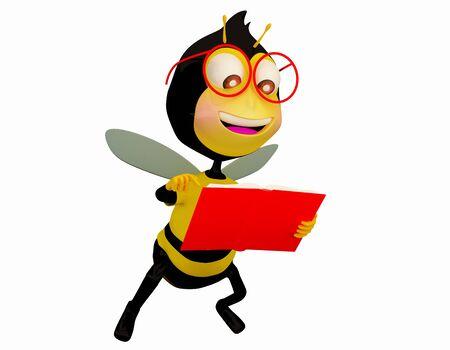 abeja caricatura: Bee lectura de animaci�n 3D.