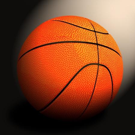 3d basket ball against black  Stock Photo