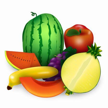 fruit illustrations with white background.