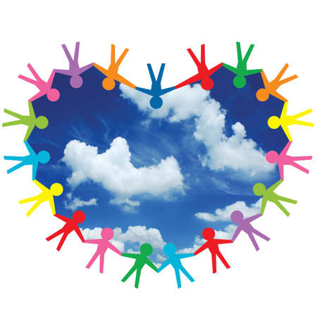 colorful people in heart shape with sky  photo