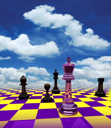 knight on chess board with Blue sky