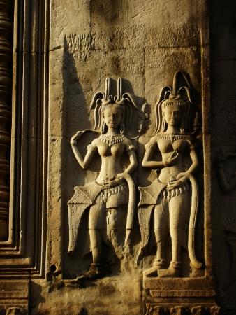 apsara: Apsara on a stone  Stock Photo