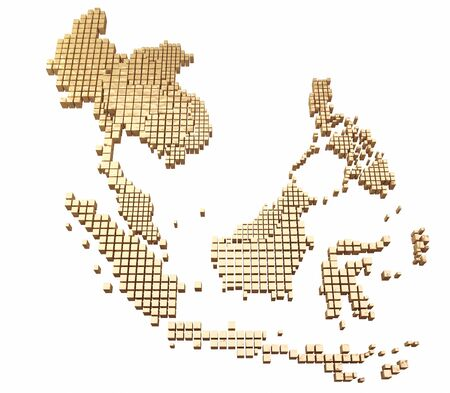 Golden ASEAN MAP Stock Photo - 15802248