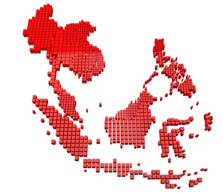 asean: Red Asean Map  Stock Photo