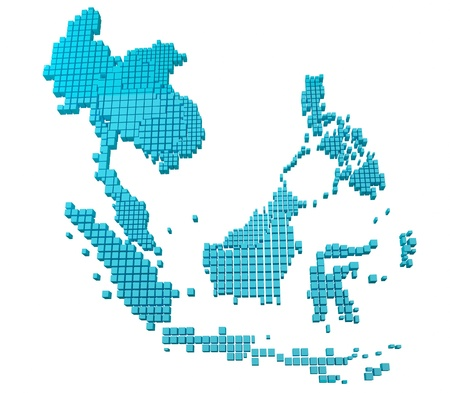 asean: Blue Asean Map  Stock Photo