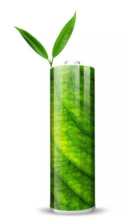 Eco green energy battery and two green leafs