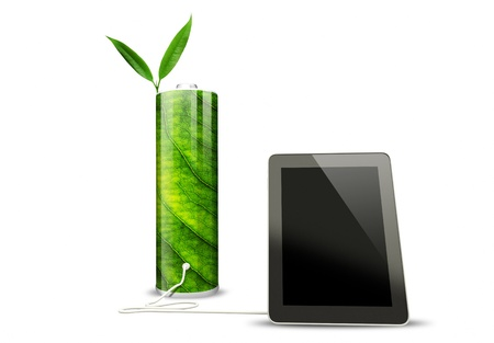 green battery with tablet  photo