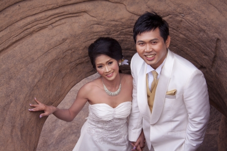 young couple in wedding  photo