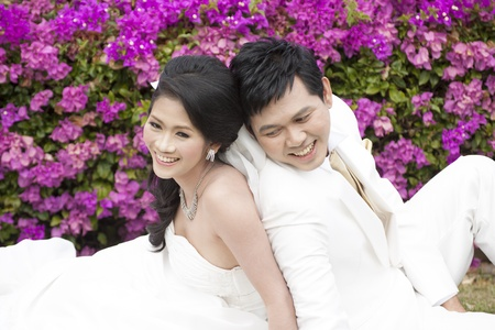 young couple in wedding